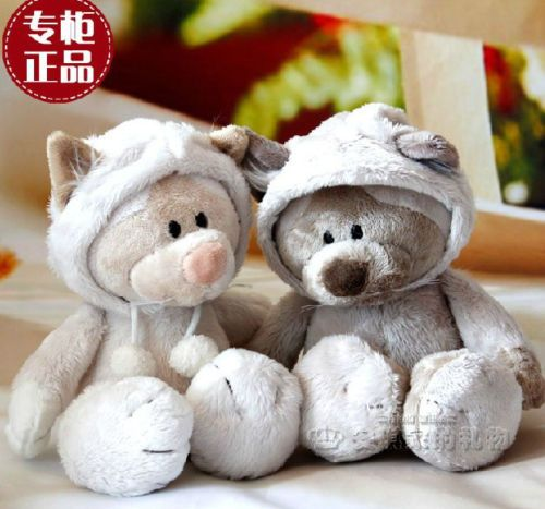 candice guo! super cute nice plush toy couple Snow civet Leopard cat  stuffed doll lover cap cat christmas birthday gift 1pc