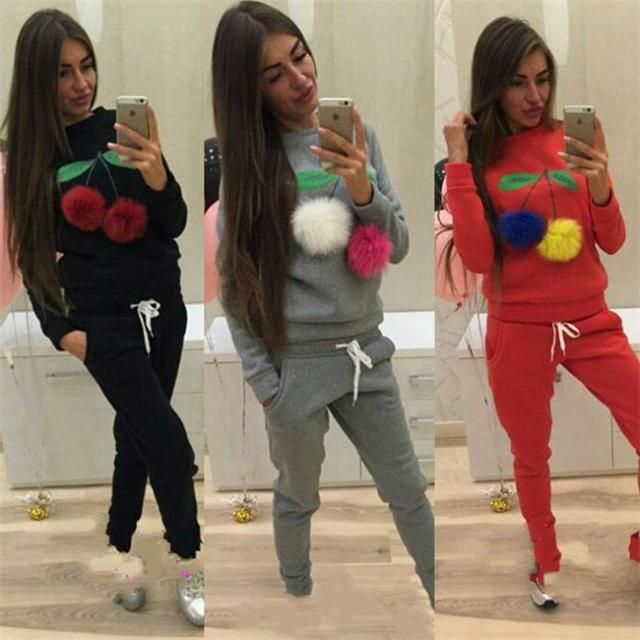 Russian Women Sweatshirt Hoodies Suits Puffer Ball Print Ice Cream Hair Plush Ball Casual Women Sweatshirt 2 Pieces Set