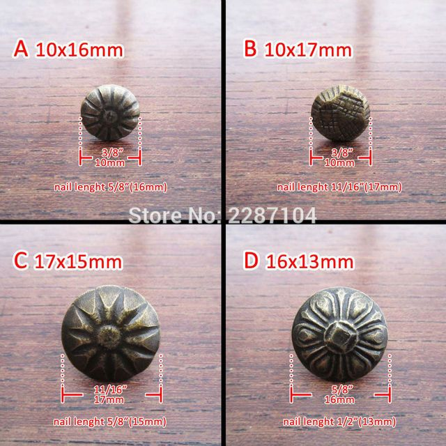 50pc Antique Brass Vintage Upholstery Nail Jewelry Chest Box Furniture Sofa Decor Tack Stud Pushpin Hobnail Large Head Doornail