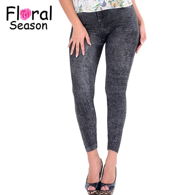 2016 Fashion Sexy Women Leggings Imitation Jeans Elastic Slim Punk Style Faux Denim Pencil Pants DJ00058