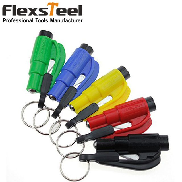 1PC Car Styling Pocket Auto Emergency Escape Rescue Tool Glass Window Breaking Safety Hammer with Keychain Seat Belt Cutter