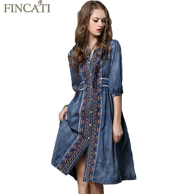 2017 Summer Vestidos Vintage Cotton Embroidery Dress Half Sleeve A-Line All Match Drawstring Loose Denim Color Women Dresses