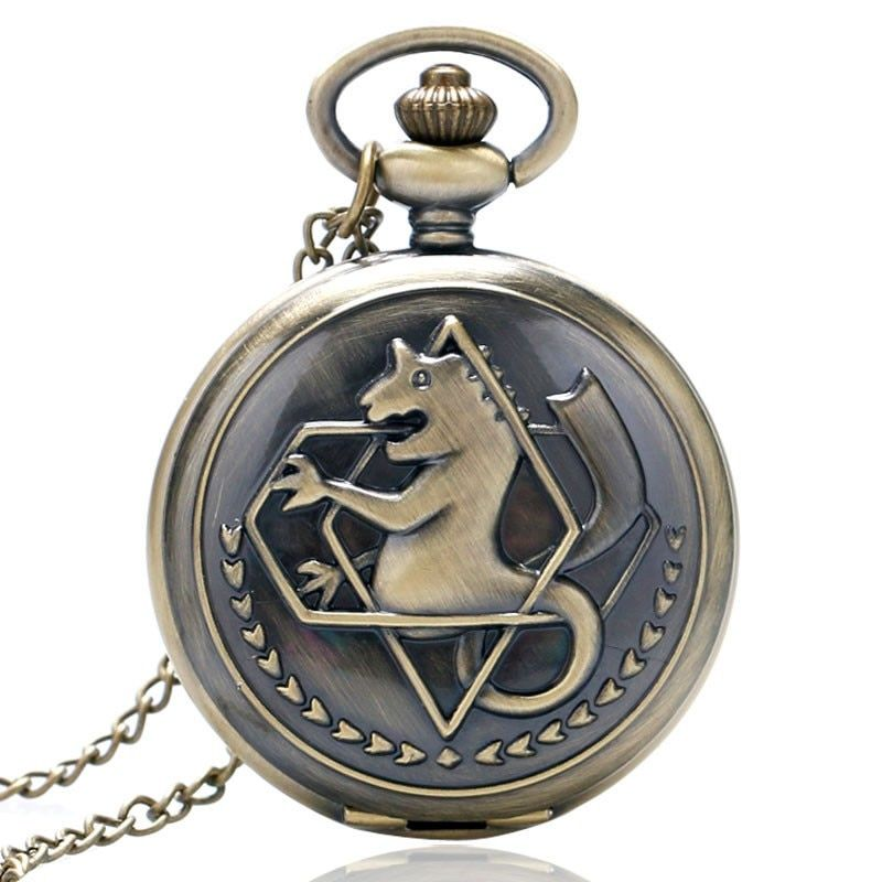 Cool Japanese Animation Fullmetal Alchemist Theme Quartz Pocket Watch With Necklace Chain Gift for Pocket Watch To Children