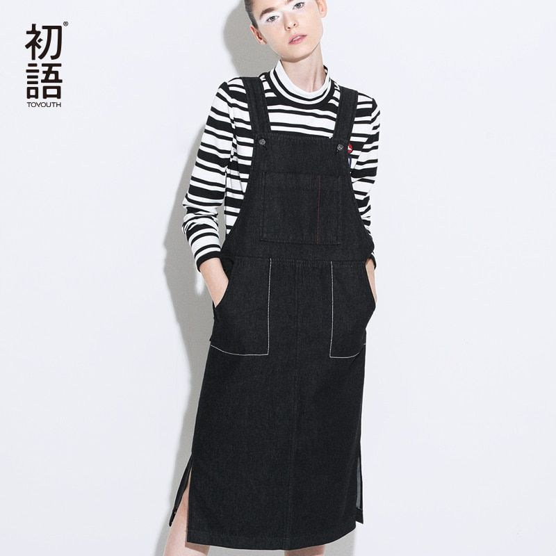 Toyouth Cool Spaghetti Strap Jeans Dresses Fashion Big Pockets Solid Denim Vestidos Mujer 2018 Autumn Black Dress For Women