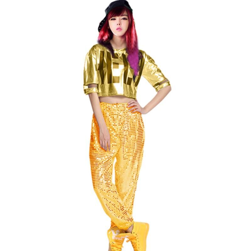 2016 Free Shipping Hip Hop & jazz trousers Pants Women's Sequin Jazz Dance Costume Hip Hop Pants, Street Dance Pants for Girls