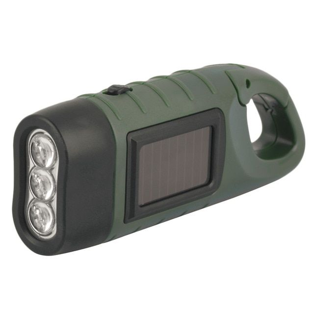 YHX YHX 2016 NEW arrival  Hand Held Crank Dynamo Solar Power Rechargeable LED Flashlight 3-LED