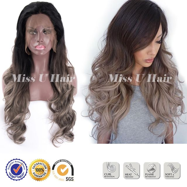 Gray wig artificial hair 2inches lace front synthetic ombre wig natural curling hair cheap hair wig