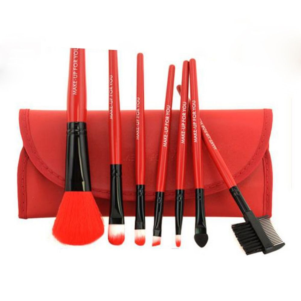 Makeup Brushes Set 7pcs/lot Soft Synthetic Hair Blush Eyeshadow Lips Make Up Brush With Leather Case For Beginner Brush