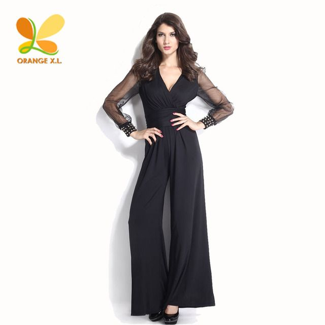 Orange X.L. Long Sleeve S-XXXL Women Black/Red/Blue Jumpsuits with Rivet on Cuff Ladies Full Length Casual Jumpsuit Tulle Sleeve