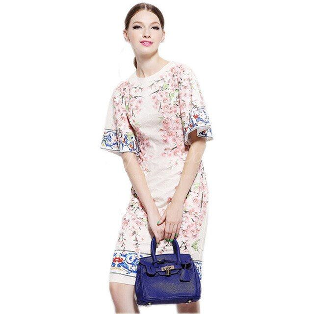 2017 Italy Sicily Summer&Spring Fashion Brand Print Flower Appliques Peach Flower Flare Sleeve Silk Slim Casual  Dress  Women