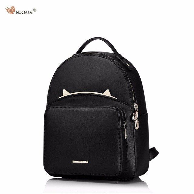 NUCELLE Brand Design Fashion Adorable Cute Cat Ears Cow Leather Women Ladies Girls Feminine Backpack School Travel Shoulders Bag