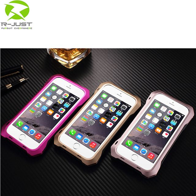 "Original R-just Dirt proof Shockproof Waterproof Case For iphone 6 6S Plus 5.5"" Heavy Duty Aluminum Metal Cover Gorilla Glass Ha"
