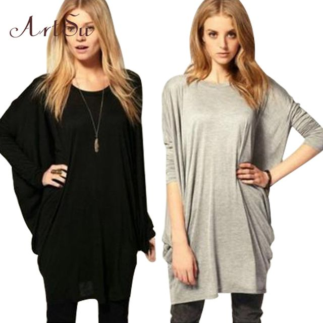 New Batwing Sleeve Long T-shirt women tops fashion 2016 winter shirts long Sleeve camisetas plus size ropa mujer tee basic YJ806