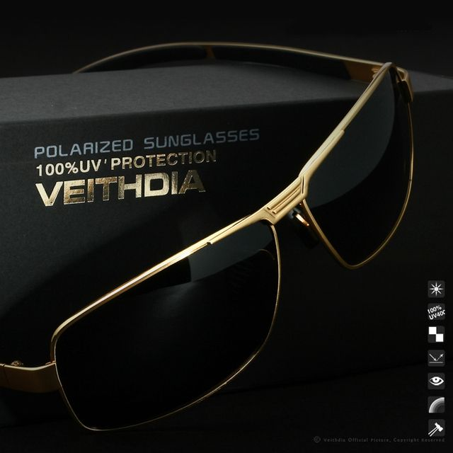 VEITHDIA Polarized Sunglasses For Men Brand Designer Vintage UV400 Eyes Protection Sports Coating Sun Glasses 2490 wholesale