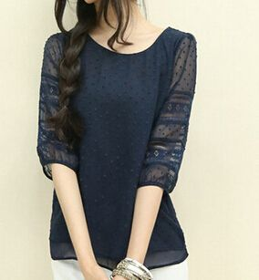 Summer Style Chiffon Blouse Patchwork Women Tops O-Neck Korean Hollow Out Fashion Shirts Plus Large Size blusa feminina AE46