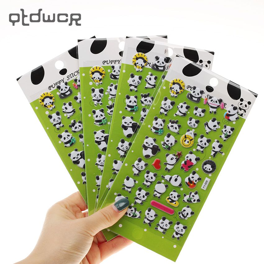 1PC Panda 3D Bubble Decoration Decal DIY Diary Album Kawaii Stationery Notes Memo Pad Stickers