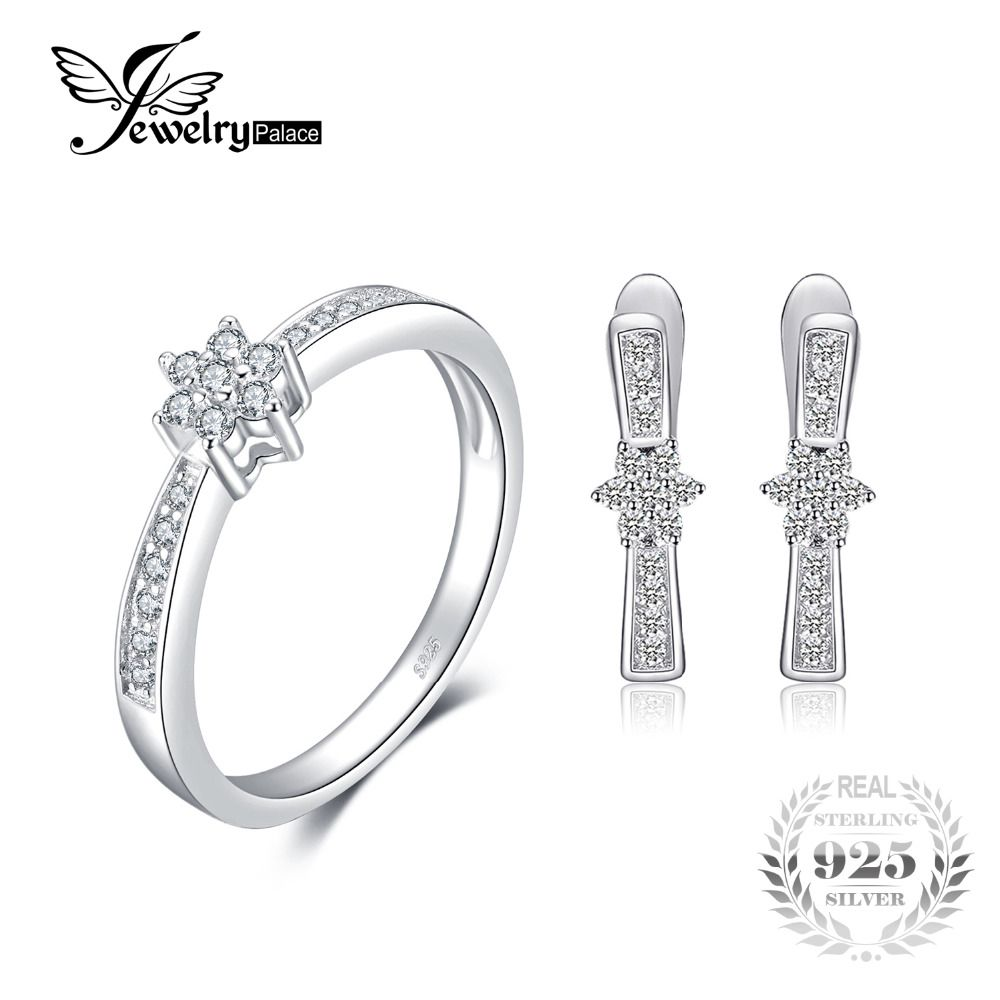 Jewelrypalace 925 Sterling Silver Flower Band Ring Earring Clip Jewelry Set Crystal Ring Earring Wedding Fine Jewelry For Women