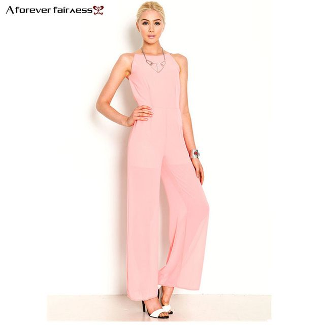 A Forever Fashion Women Jumpsuit Sleeveless Backless Elegant Chiffon Sexy Jumpsuit Slim Regular Long Jumpsuits Summer AFF222