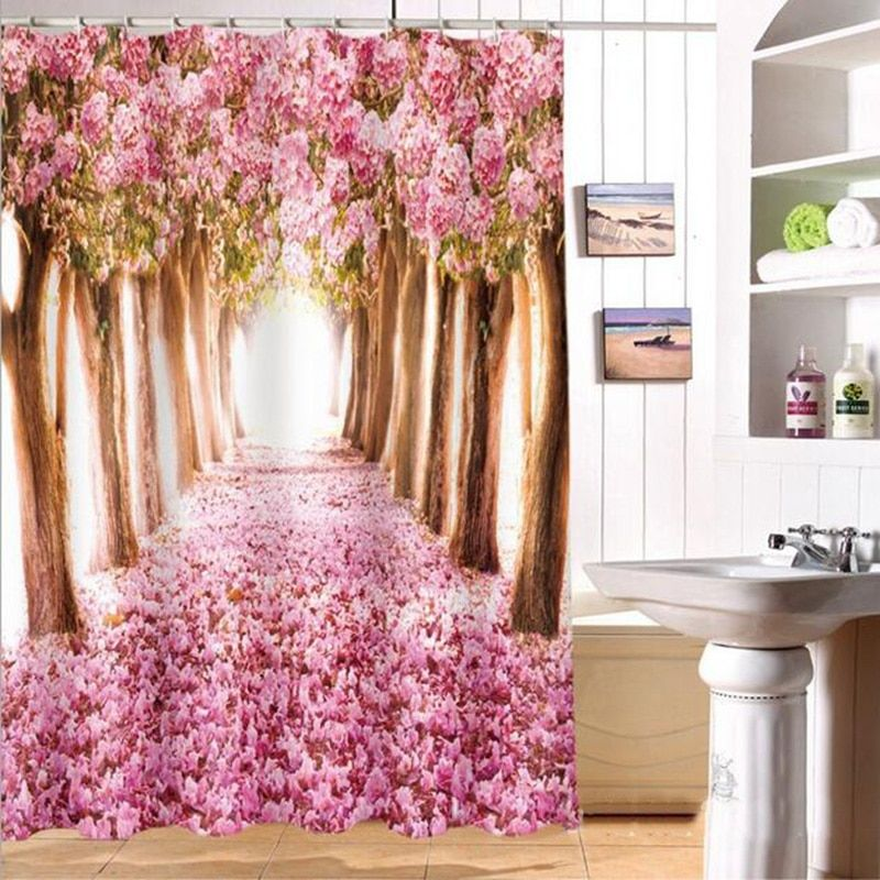 Bath Shower Curtain Home decor bathroom Accessories Villa With Swimming Pool Personalized Printing Waterproof Bath Curtain 6Z