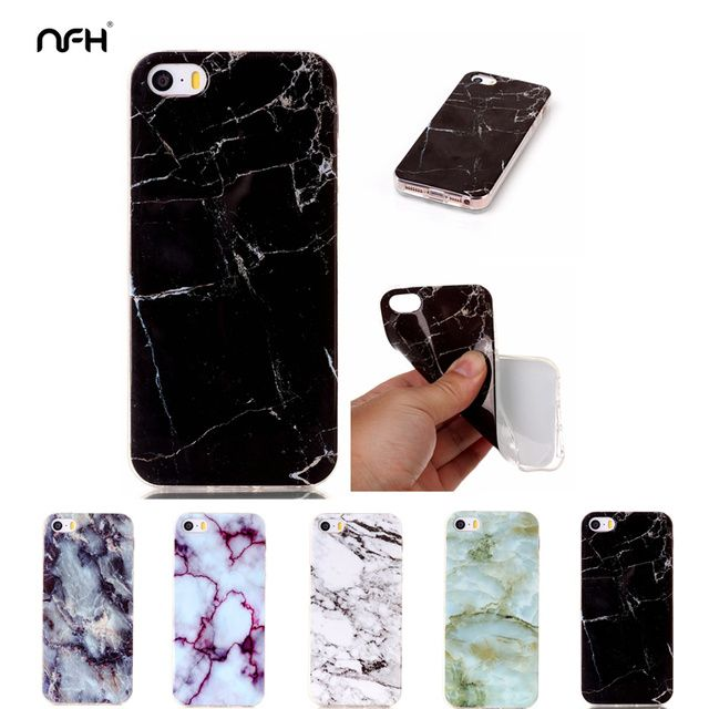NFH Cool Marble pattern Soft TPU Celular For Apple 4 5C 5S 6 PLus SE 7Plus Slim Crystal Clear TPU Case On 5S Silicone Back Cover