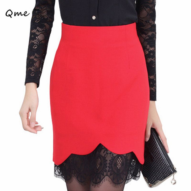 Lace skirts womens pencil skirt  plus size saias femininas renda work wear faldas 2016 black red white jupe ladies formal WL003