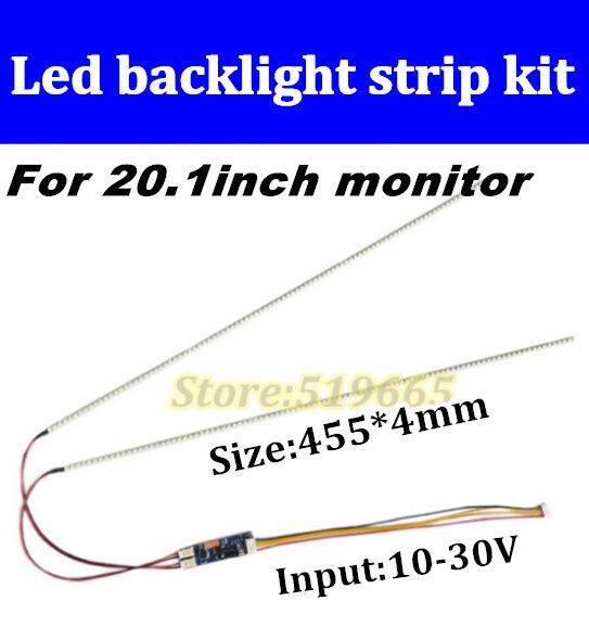 High quaity New  2pcs 20.1''  455mm Adjustable brightness led backlight strip kit,Update 20.1inch wide LCD CCFL to LED backlight