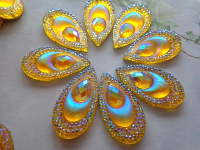 16*30mm Golden AB colour crystal sew on rhinestones Eye drop shape flatback   resin gem stones  free shipping 30pcs/lot