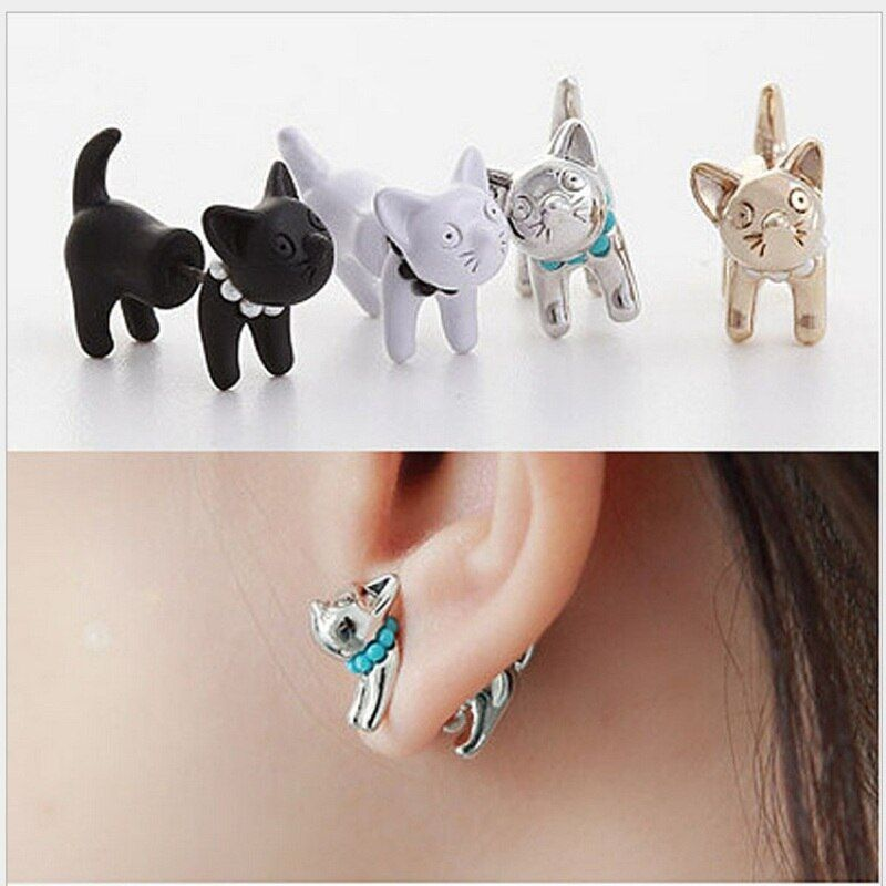 White Black Gold Silver 4 Colors Cat Drop Shipping 2016 New Arrival 3D Pearl Kitty Cat Cute Stud Earrings set for Women Girl
