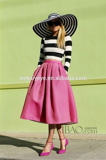 2014 Early Autumn long sleeve elegant slim twinset vintage zebra upper+pink mid-calf pleated skirts casual dress