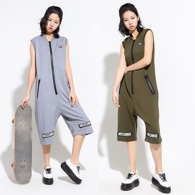 Women performance wear Costume loose Casual Sleeveless one piece Pants Rompers Womens harem Black Green Hip Hop Dance jumpsuit