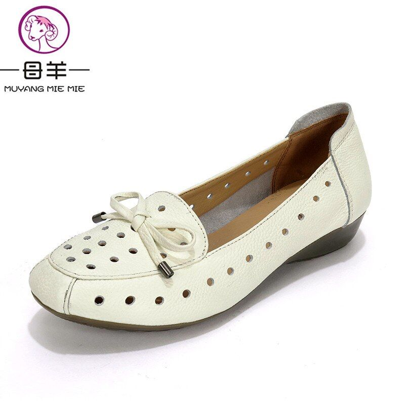 MUYANG MIE MIE Summer Shoes Woman Genuine Leather Flat Sandals Causal Comfortable Women Sandals 2019 New Fashion Women's Shoes