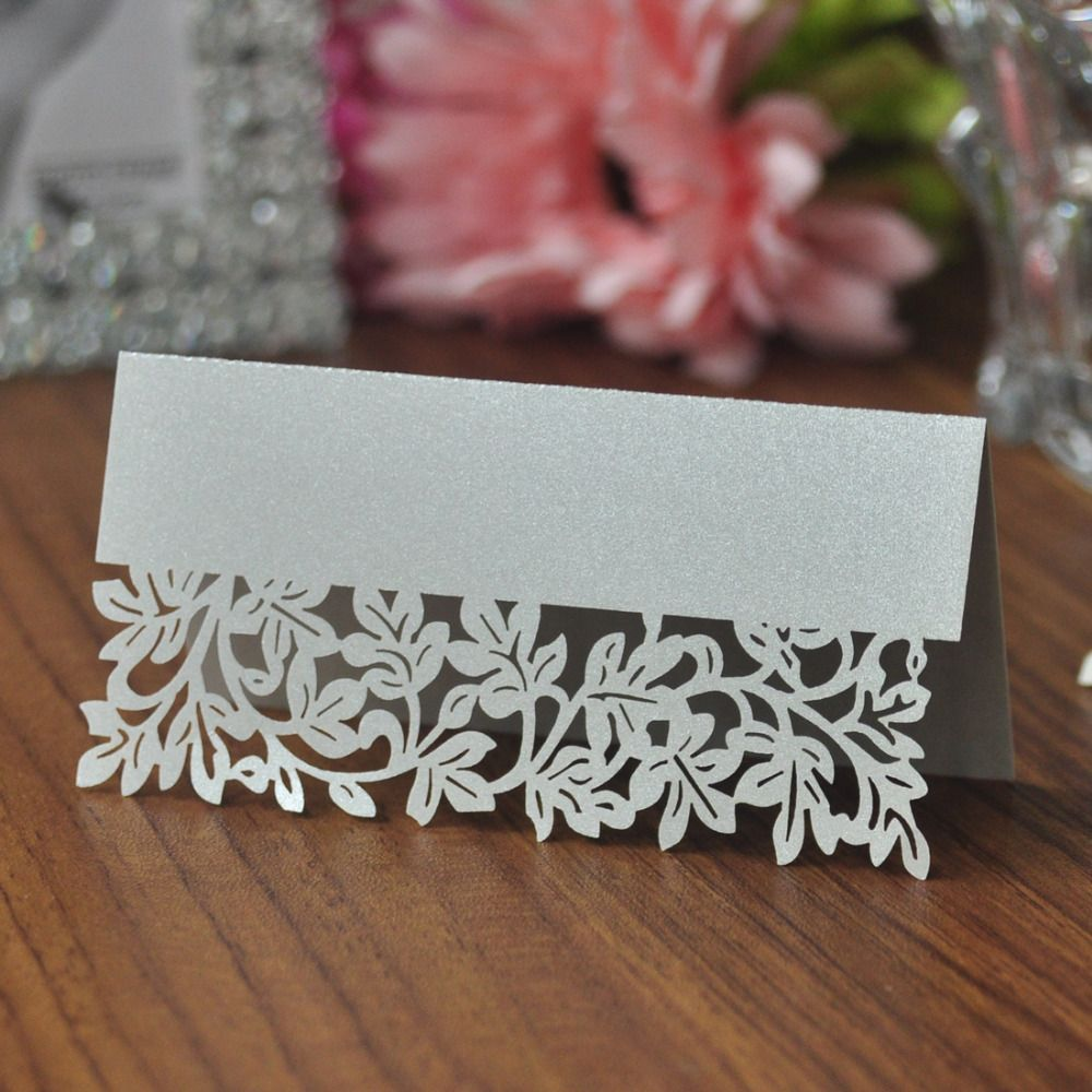 100pcs Silver Laser Cut Table Mark Paper Name Place Cards Wedding Decoration Mariage Baby Shower Favors Gifts Party Supplies