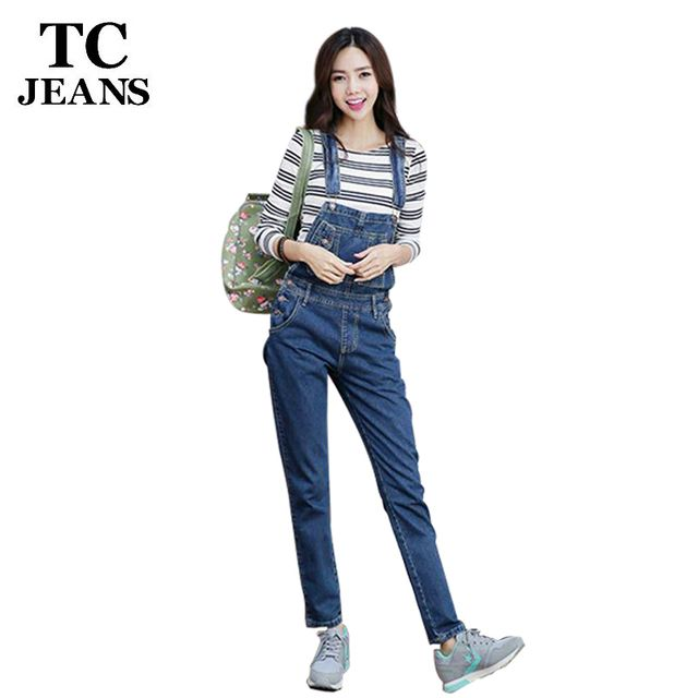 TC Brand Women Denim Jumpsuit 2016 Spring Autumn Casual All Match Slim Vintage Loose Solid Jeans Overall Women Clothing WT00543