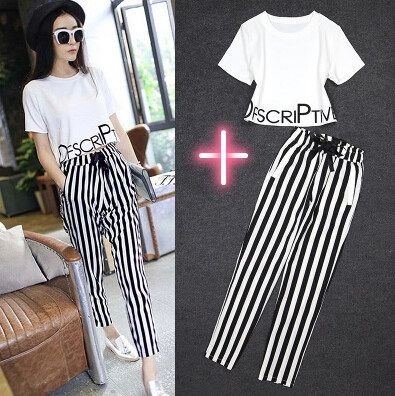 Summer New Women Chiffon Casual Letter Print White Crop Tops + Striped Trousers Sets  White T-Shirts Striped Pants Sets