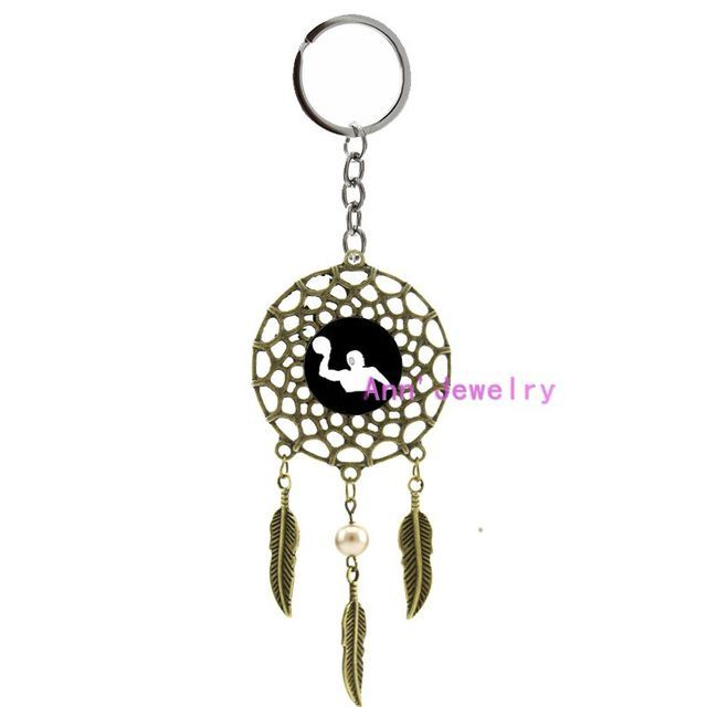 652-water polo Keyring water polo players dreamcatcher custom sports Bohemia wedding mandala bars, or set, groom polo fan