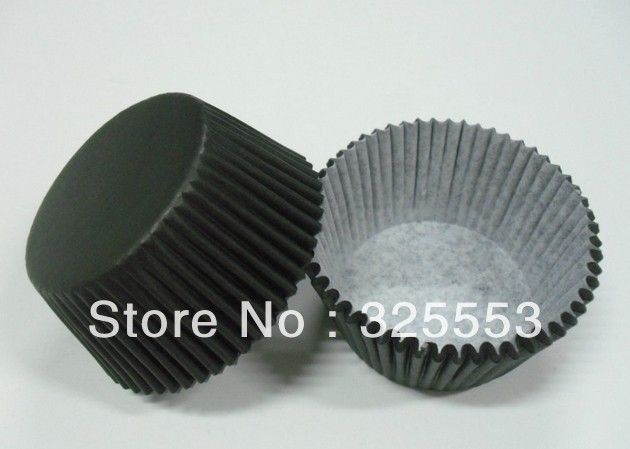 Free Shipping 200pcs greaseproof paper Black Plain Color cupcake cases muffin liner baking cup bakery party supply