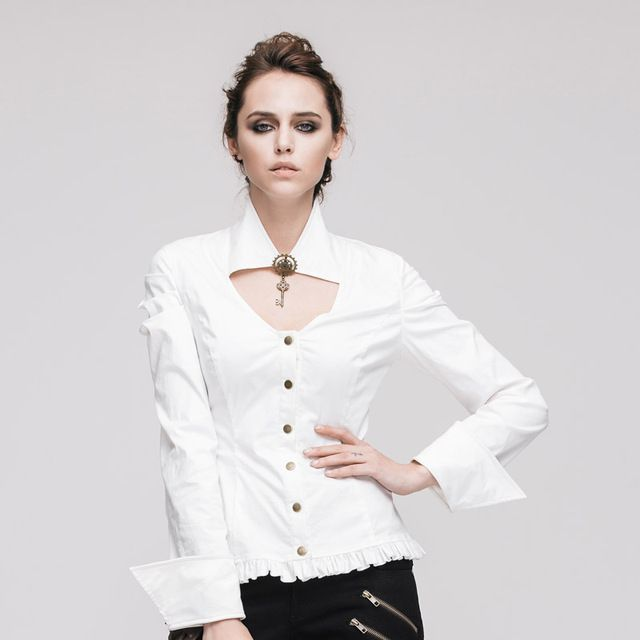 Devil Fashion Steampunk Women Sexy Blouses Gothic White Long Sleeve Chiffon Button Shirt Tops Deep V Career Shirts
