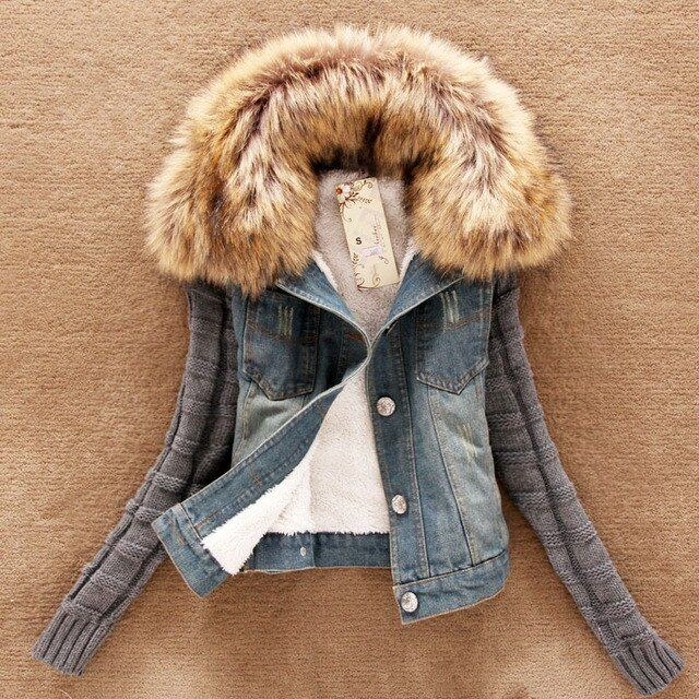 Denim Jacket Women in Spring and Winter Fashion short Basic Jacket With Fur Wool Bomber Jacket Women Basic Coat chaquetas mujer