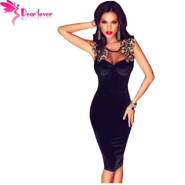 Dear-Lover velvet dress party dresses Black Sleeveless Lace-up Back Floral Detail Midi Dress Bodycon Vestidos Robes 2016 LC61102