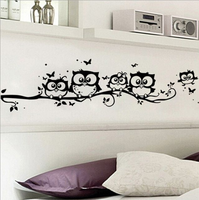 DIY Black Owl Cartoon Wall Stickers Removable Art Vinyl Decal Kids Nursery Room Home Decor~GS660