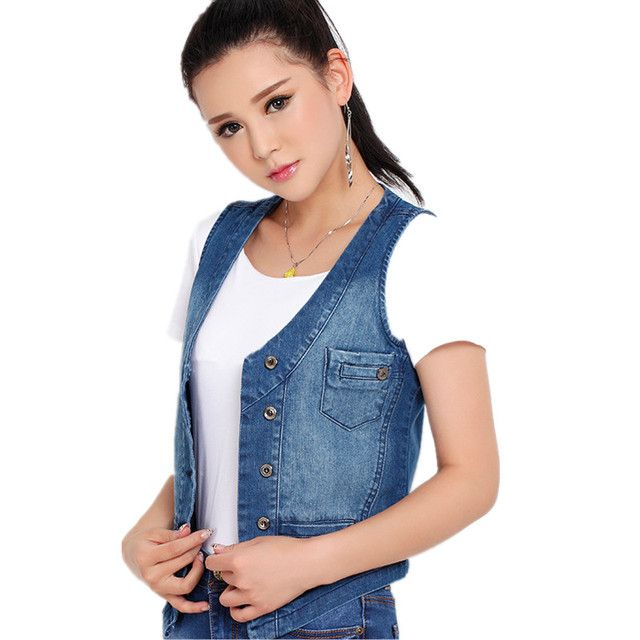 100% Cotton Women's Denim Vest 2018 New Spring Jeans Jackets Female Korean Slim Sleeveless Shirt Plus Size Ladies Waistcoat 5XL