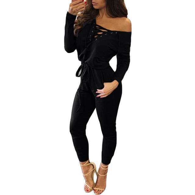 Sexy Jumpsuit 2016 Black Long Sleeve Hollow Out  Rivet Lace Up Elastic Waist Womens Winter Club Outfits Jumpsuits And Rompers