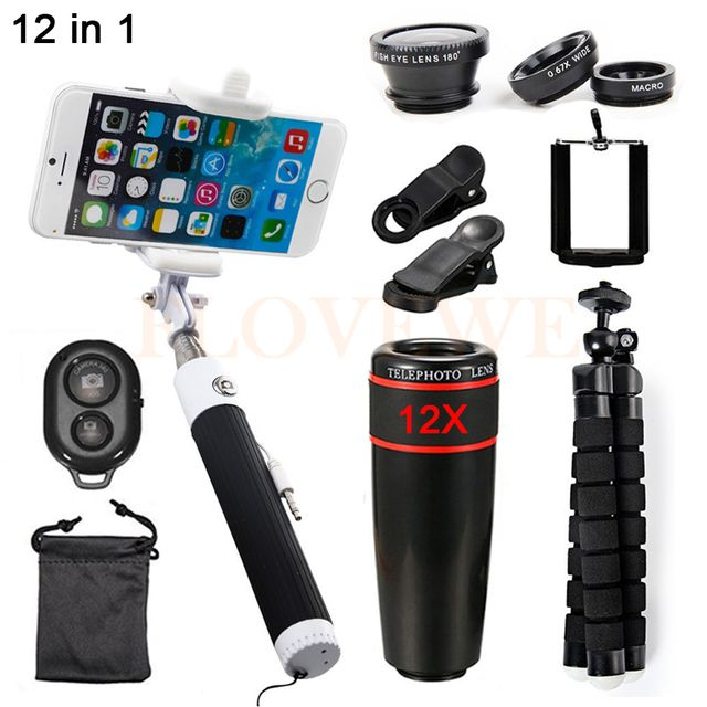 Cell Phone Lenses Kit 12X Zoom Telephoto Lens Fish eye Wide Angle Macro Lentes Telescope With Selfie Stick Clips Mobile Tripod