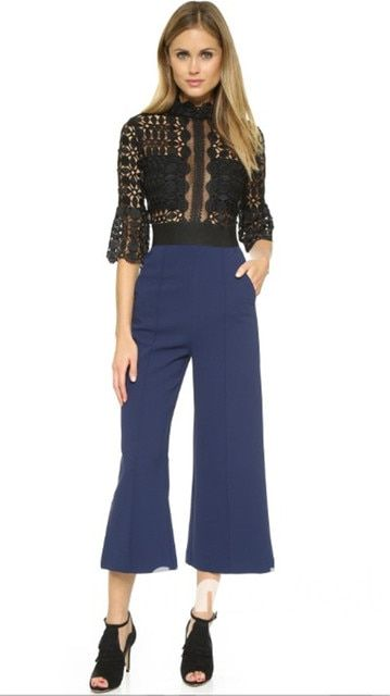 High Quality Women Scallop Edged Jumpsuit Lace Crochet Flare Sleeve Wide Legs Runway Jumpsuit Faux Two Pieces JM6