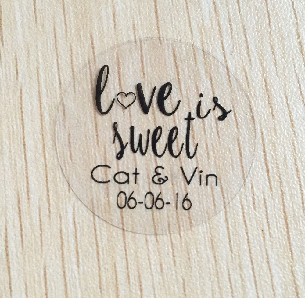 90pcs 3cm custom Personalized clear Wedding love is sweet Invitation Envelope Seal Stickers white text label