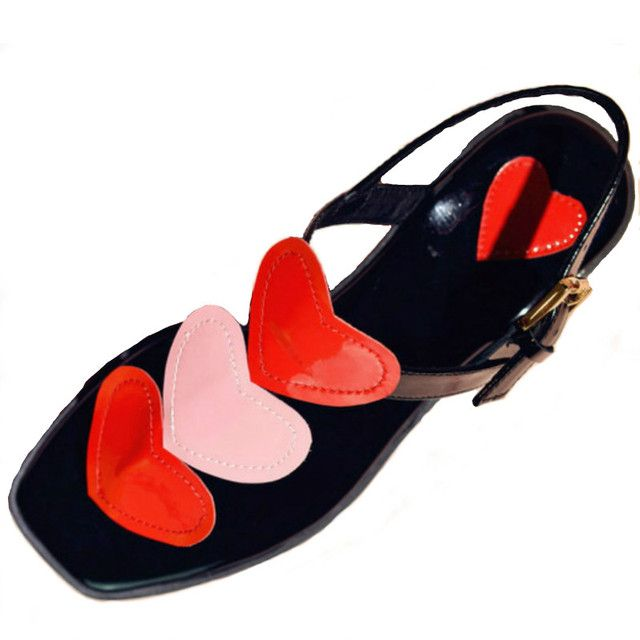 Europe size 33-40 women genuine leather flat sandals 2017 red pink heart T strap fashion ladies summer flats beach casual shoes