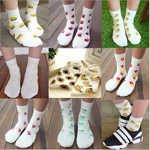 wholesale 100pcs=50pairs Fruit hamburger fries sunflower creative Summer South Korean women's Fashion Cotton tube Socks