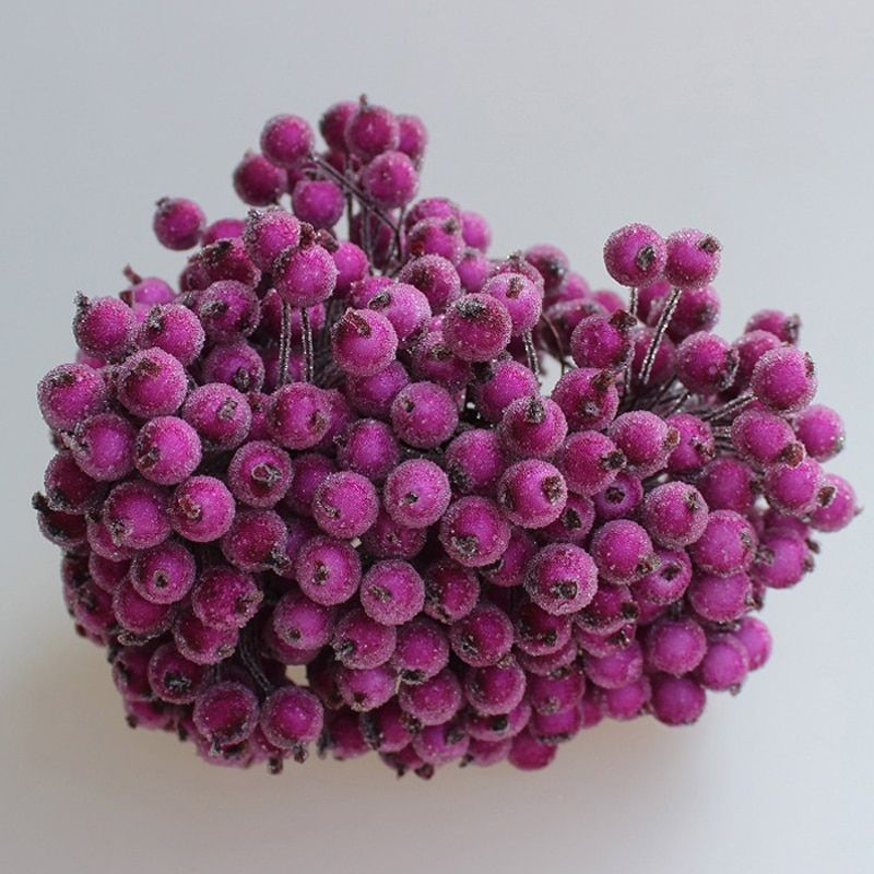 20pcs40head Double Head Berries Mini Fake Fruit Berries Artificial Pomegranate Cherry Flower Bouquet Stamen Christmas Decorative