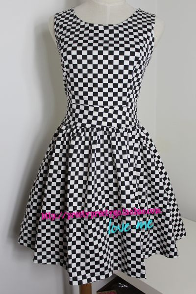 Casual Women/girls Dresses black and white checkerboard palid vintage high waist sleeveless vest one-piece dress