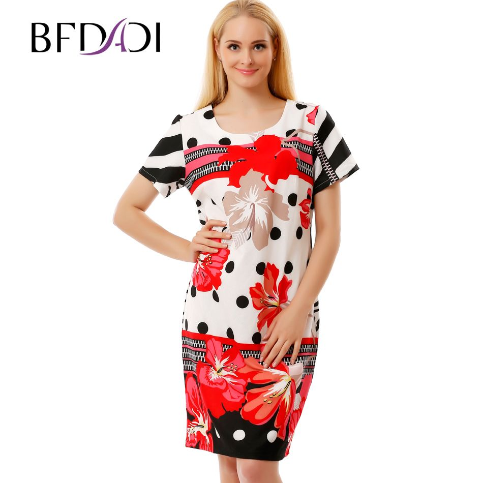 BFDADI 2016 New Summer Flowers Dress High Quality Women Loose Fashion Sweet Dress Ladies Knee-Length Plus Size Dresses 2837-3